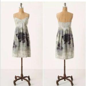 Fei gray watercolor print silk babydoll dress